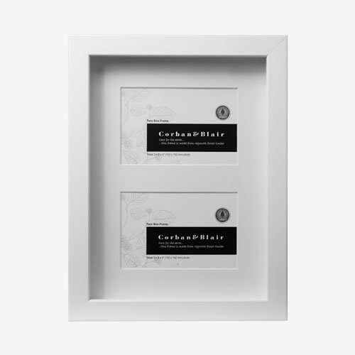 Twin White Box Frame with Mat takes two 6x4 Images