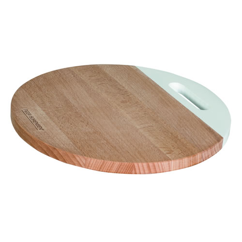 Beech Wood Round Serving Board with White Handle