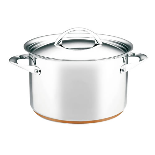 Per Vita Covered Stock Pot with Copper Base 24cm 7.1L