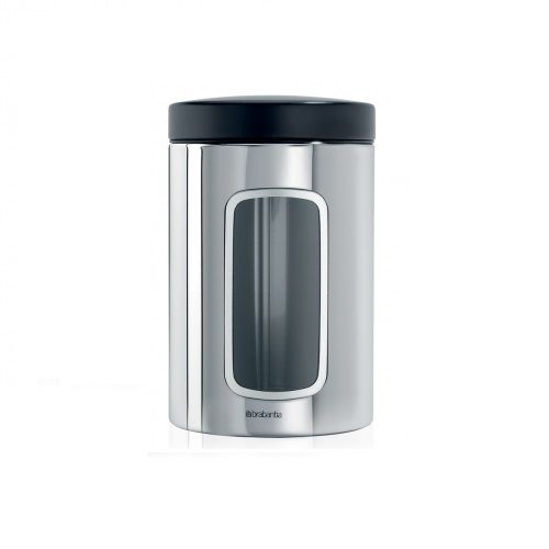 Canister with Window in Matt Steel 1.4L with Fingerproof Coating with Black Lid