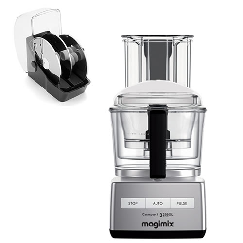 Magimix 3200 XL Food Processor in Chrome with Bonus 3 Disc Set Valued at $229