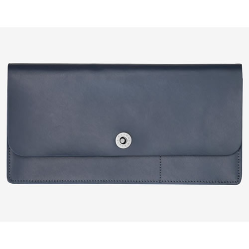Basics Collection Travel Wallet in Navy Leather