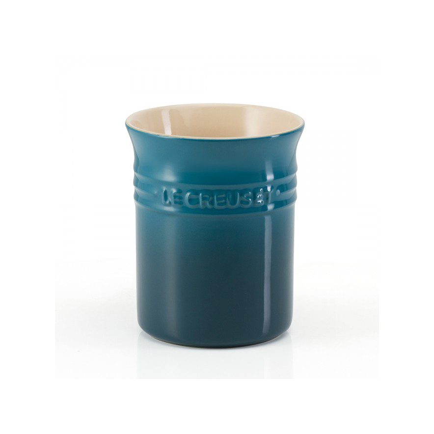 Stoneware Utensil Jar in Deep Teal