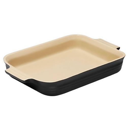 Satin Black Shallow Rectangular Dish 18cm