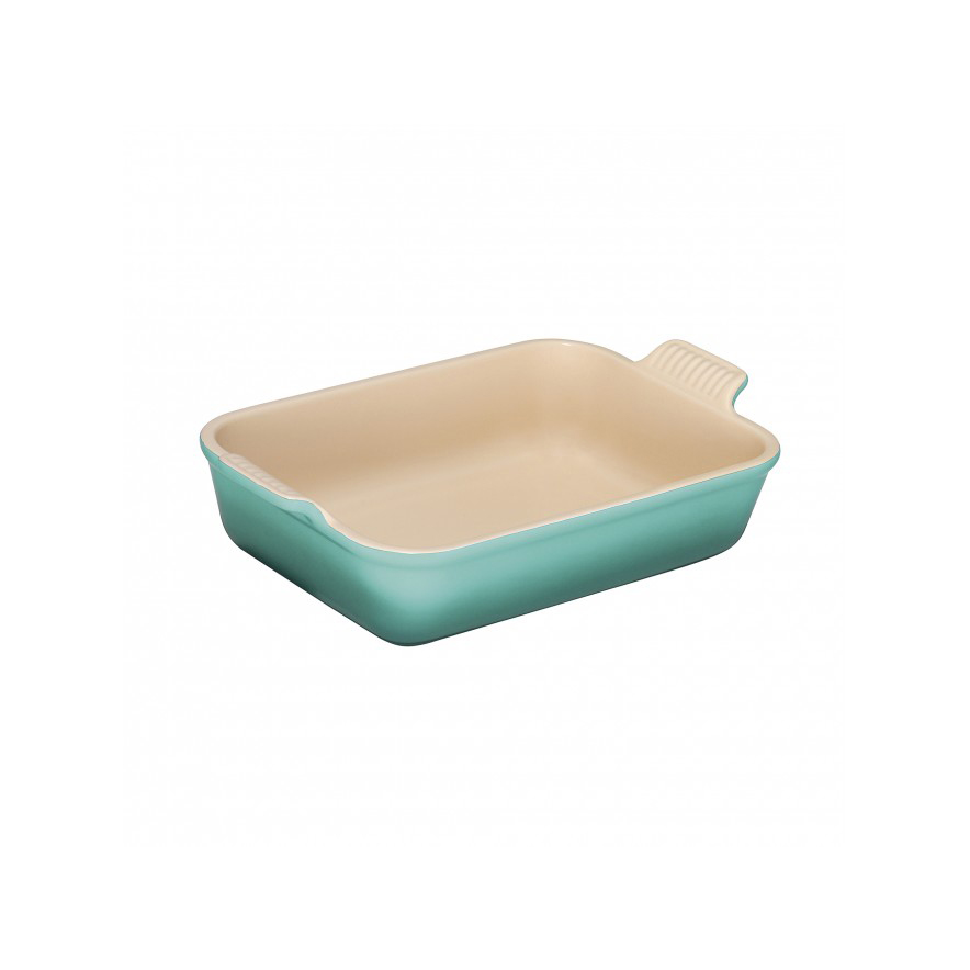 Stoneware Deep Rectangle Dish, 26cm in Cool Mint