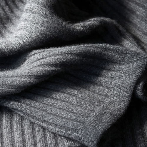 Angora and Fine Merino Wide Rib Throw in Grey