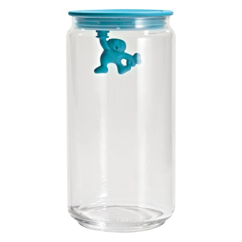 Gianni Glass Storage Jar with Blue Lid - Large 1.4L