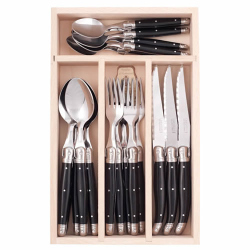 Debutant 24 Piece Cutlery Set in Black