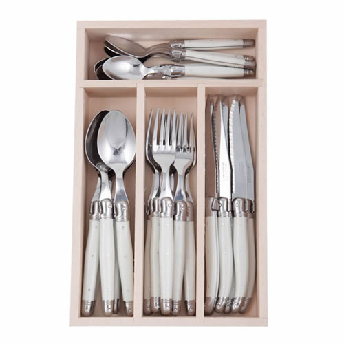 Debutant 24 Piece White Cutlery Set