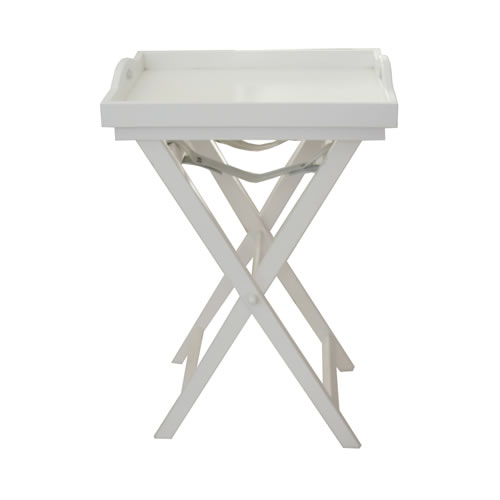 Wooden Butlers Tray with Cross Legs - White