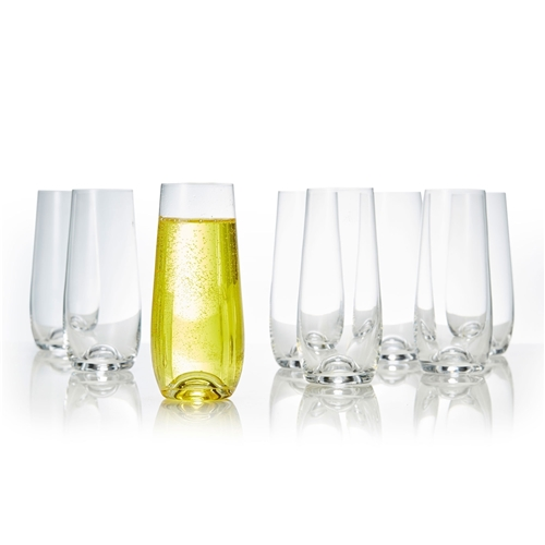 POLO Set of Eight Stemless Champagne Flutes