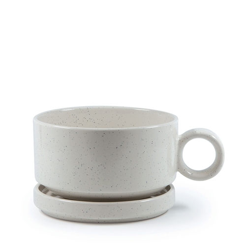 NAOKO Soup Mug with Saucer Stone 550ml
