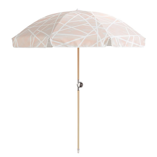 Geometric Powder by Sarah Ellison Beach Umbrella