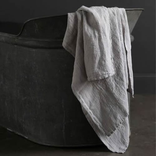 Jacquard Linen Bath Towel Grey