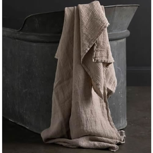 Jacquard Linen Bath Towel Natural