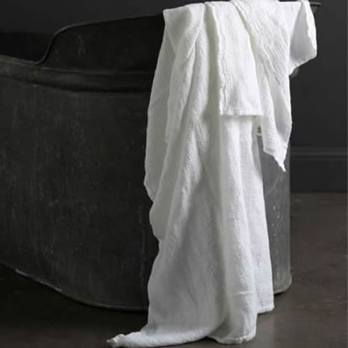 Jacquard Linen Bath Towel White