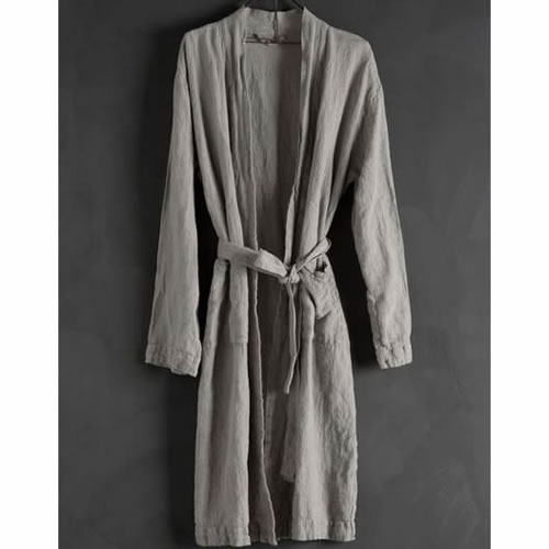 Bathrobe Linen Grey