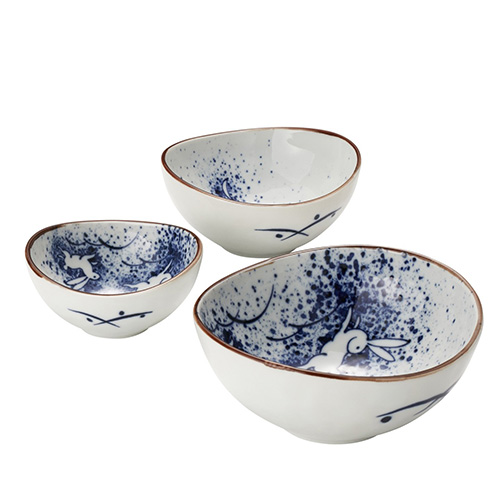 Tsukiusagi Rabbit Set of 3 Oval Bowls