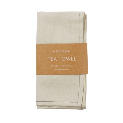 Stone Cotton Linen Tea Towel