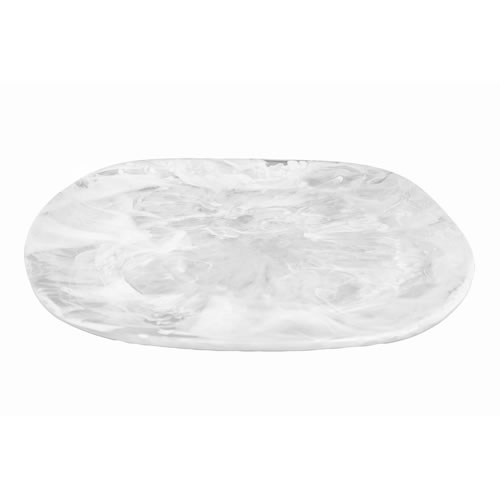 Organic Resin Platter Medium White Swirl