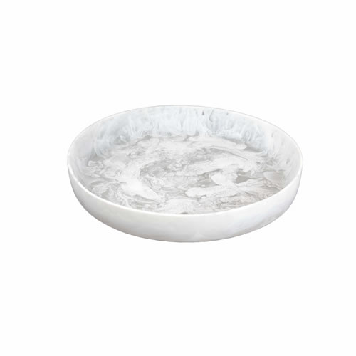 Flat Bowl Medium White Swirl