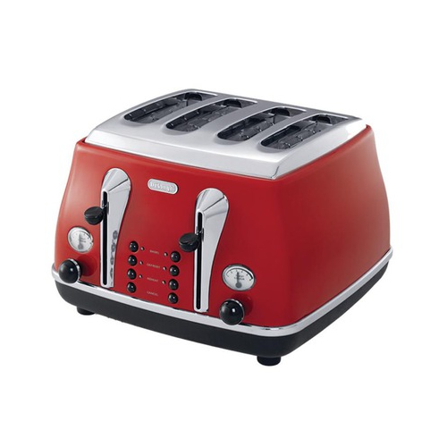 DeLonghi Icona Four Slice Toaster in Red
