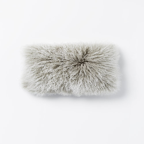 Lina Lambswool Rectangle Cushion in Grey Snow Top