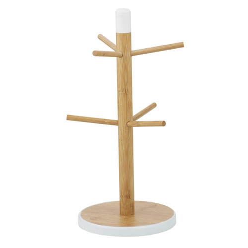 Bamboo Mug Tree in Natural and White
