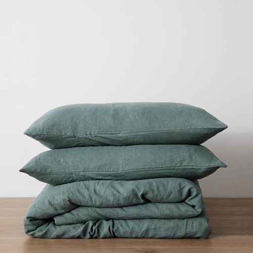 King Linen Duvet Cover Set - with pillowcases - Bluestone