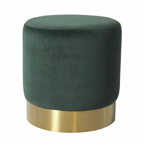 Darcy & Duke Velvet Brass Ottoman Small Green