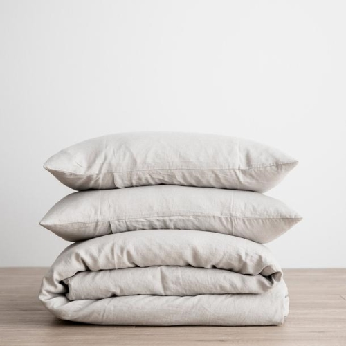Queen Linen Duvet Cover Set - Smoke Grey