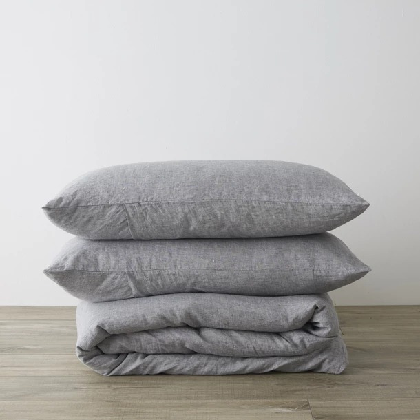 Queen Linen Duvet Cover Set with Pillowcases - Ash
