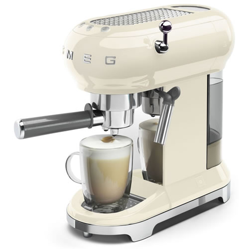 Smeg 50's Style Espresso Coffee Machine Panna Cream