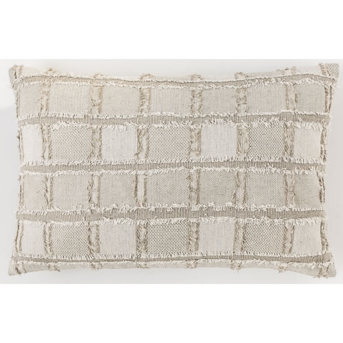 Bedu Cushion Natural Linen with fringed finish 40x60cm Natural