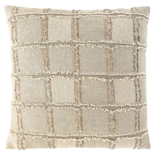 Bedu Cushion Natural Linen with fringed finish 50x50cm Natural