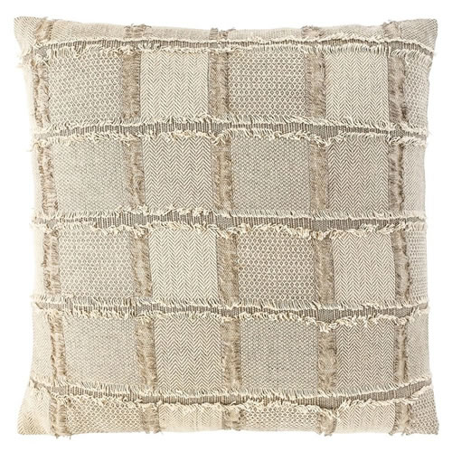 Bedu Cushion Natural Linen with fringed finish 60x60cm Natural