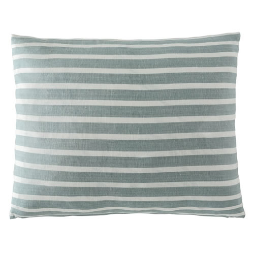 Coitier Cushion Linen Cotton Blend 50x60cm in Sea Mist White Stripe