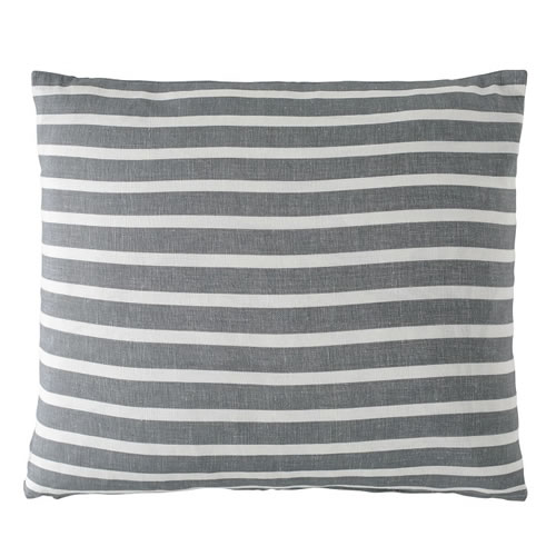Coitier Cushion Linen Cotton Blend 50x60cm in Slate White Stripe