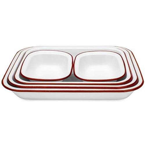 White & Red Enamel Baking Set 5 Piece
