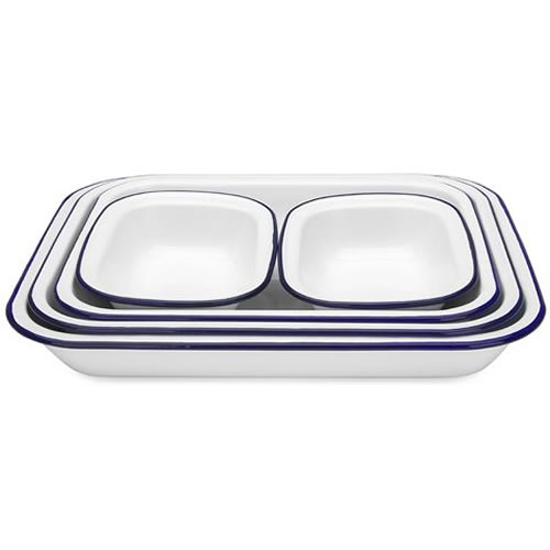 White & Blue Enamel Baking Set 5 Piece