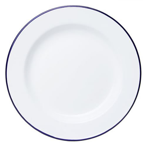 White & Blue Enamel Dinner Plate 26cm