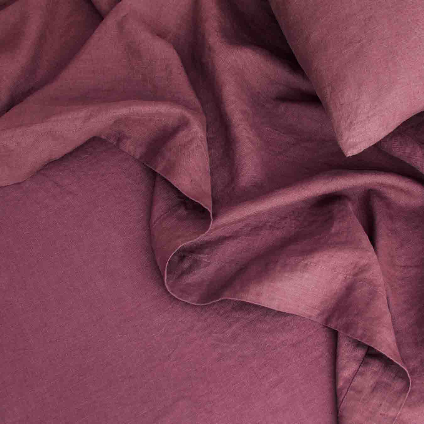 Linen Flat Sheet With Border One Size Plum