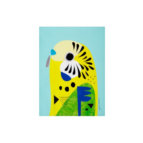 MW P.Cromer Tea Towel Budgerigar