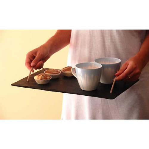 Slate Serving Tray with Rope Handles