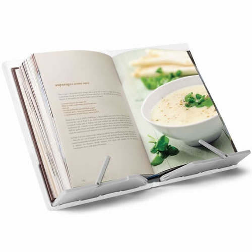 CookBook Compact Folding Bookstand in White and Grey