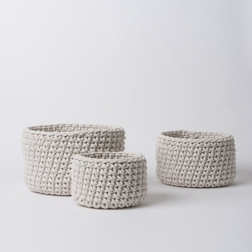 Knitted Storage Basket Set of Three