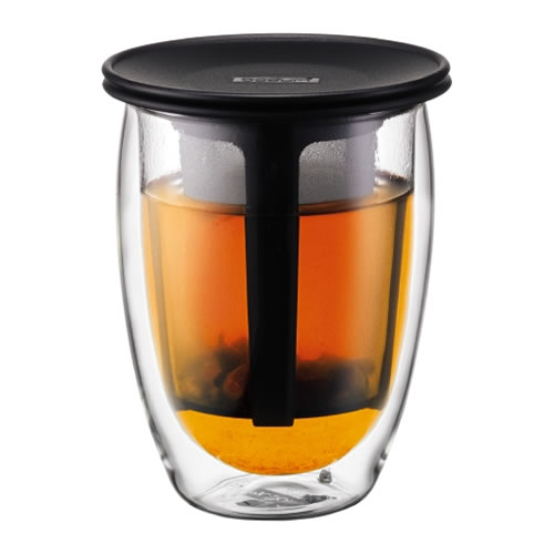 TEA FOR ONE Double Wall, 0.35L with Tea Strainer Black