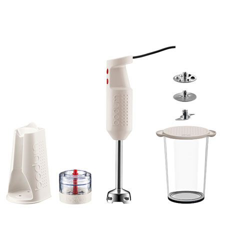 e-Bodum Bistro Electric Stick Blender in Off White with Accessory Bundle