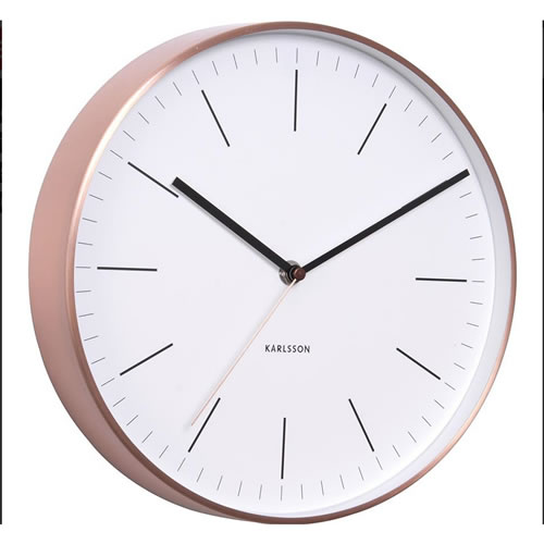 Wall Clock Watch White with Copper Case