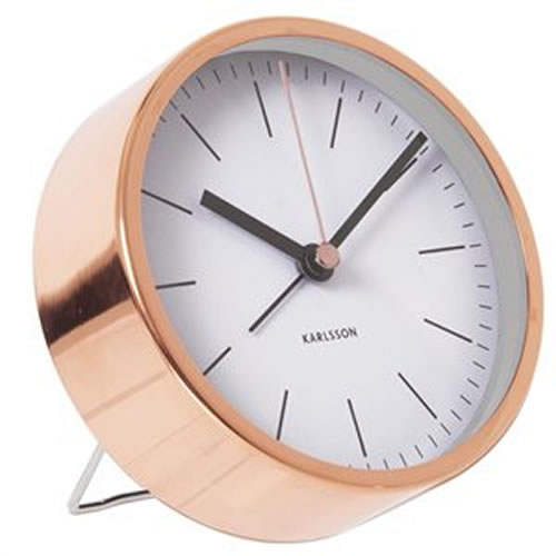 Alarm Clock White with Copper Case